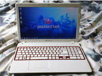 Packard Bell white fast laptop. 2.70ghz to 3.20ghz, 4gb, 500gb. Windows 7. Excellent condition.