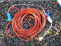 caravan wheel + tyre and electric hook up cable