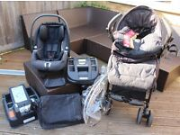 Mamas and Papas Pliko Pramette pushchair, Primo Viaggio car seat, two car seat bases and accessories