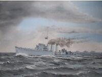 "Original oil painting 12"" x 16"" - HMS'Caroline'"