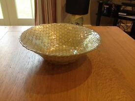 Large ornamental glass bowl. Gold coloured