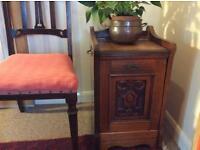 Beautifully carved antique wooden perdonium, coal scuttle,