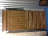 Elegant Quality Pine Gentleman's Wardrobe, with hanging space and four drawers. Excellent condition.