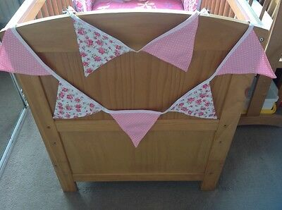 Cushi Cots 100% cotton 3m 18 flags quality bunting girls rose with sweet pink