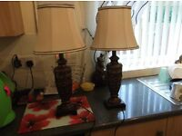 Pair of antique style table lamps