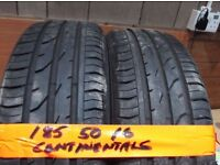 matching set of 185 50 16 CONTINENTALS 6mm tread £50 pair can fit foc opn 7 days 5pm