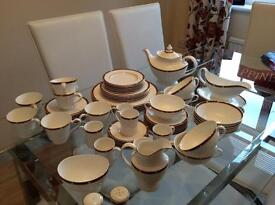 60 piece fine bone china dinner service, Marks & Spencer, white with stylish trim, barely used