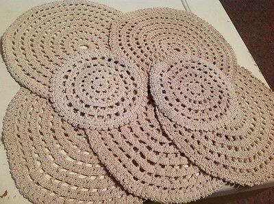 VINTAGE DOWNTON STYLE Set of Crochet Cotton Doilies PLACE MATS BEIGE Hand Made