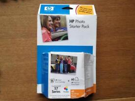 HP 57 photo starter pack, inkjet print cartridge tri colour + 60 10*15 HP Premium photo paper.