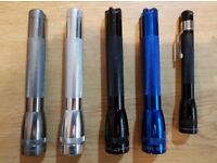 5 x Maglite torches in Very good condition