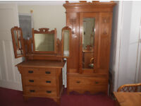 ASH WOOD DRESSING TABLE AND WARDROBE £450 ONO