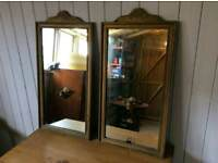 Beautiful Pair Antique Carved Gilt Framed Mirrors