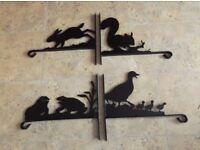 4 x Hanging Basket Brackets - Wildlife Animal Theme - Duck, Hare, Squirrel, Frog