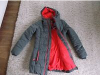 Ladies Superdry polar winter coat/jacket grey marl with pink insert size XS 6-8 New with tags