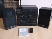 Vintage Philips F1485 Stereo System (Record Player/Double Cassette Player/Radio) + Remote Control