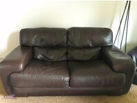 2 seater chocolate brown Italian leather sofa. Excellent condition
