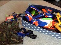 NERF GUN SET, 13 GUNS, BULLETS CAMO VEST WITH STORAGE TUB