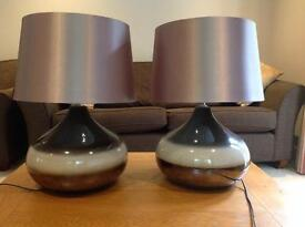 Pair of large brown lamps