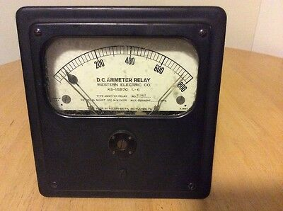 Vintage Western Electric Dc Ammeter Ks-15570 L-6 Adjustable 0 - 800 Steampunk