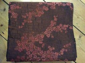 Beautiful NEW pair of heavy chenille cherry blossom pattern curtains