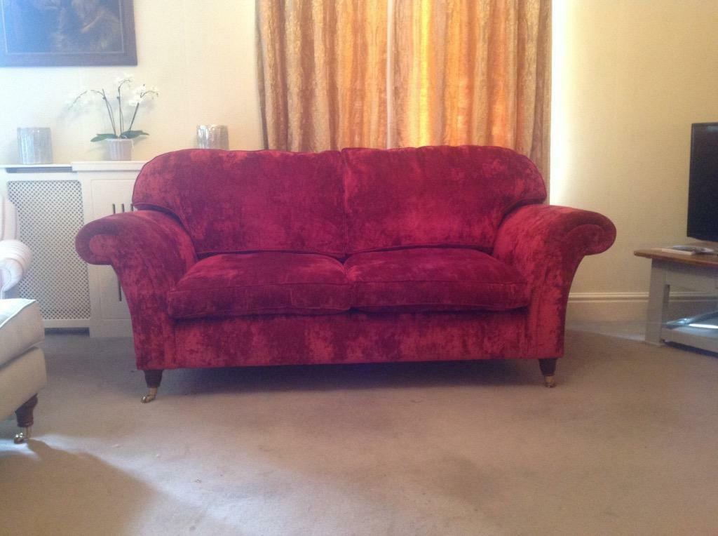 Laura Ashley Mortimer Sofa In Caitlyn Cranberry Crushed