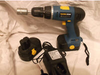 Cordless drill with 18 volt batteries+charger
