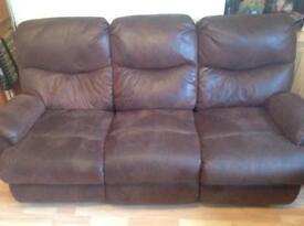 Suede Recliner Sofa - 2 Piece