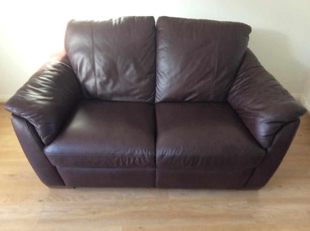 Ikea Two Seater Brown Leather Sofa In Everton