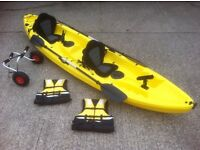 Brand new double fishing kayak, sea, river lots of colours left