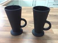 2 matt black pottery latte mugs - as new - never used