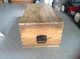 PINE WOODEN STORAGE BOX WITH METAL HANDLES - nice patina
