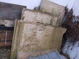 "6 CONCRETE PANELS, EACH 3'2"" x 2'4"", AND UNUSED ROOF SHEETS"