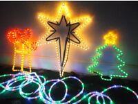Christmas Lights Coloured Cable, Christmas Star, Present, Xmas Tree! No Postage