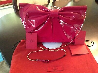 Valentino Lacca Bow Clutch Bag, Color Dark Pink or fuchsia