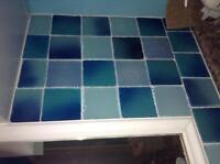 "Blue glass tiles 4"" x 4"""