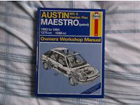 Haynes Manual Number 922 Austin MG & Vanden Plas Maestro (Petrol) 1983 to 1994