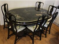 Chinese set of adjustable dining table and 6 unique chairs