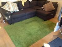 Shaggy high pile green rug