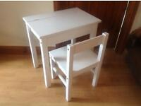Child's desk and chair in white wood