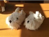 Pair of Dogs Trust westie slippers . One size fits up to adult size 5