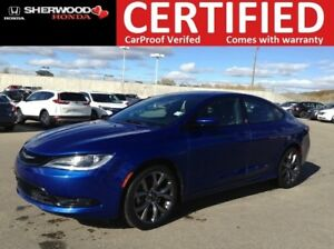 2015 Chrysler 200 S 3.6L V6|REMOTE START|HEATED STEERING+SEATS|N