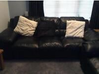 Large 2&3 black leather sofas