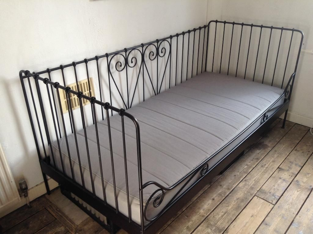 Ikea meldal black metal daybed with ikea sultan mattress for Daybed cushion ikea