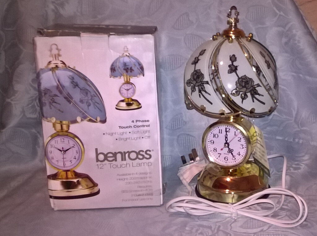 """Benross 12"""" Touch Lamp with Clock"""