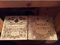 Enchanted forest and secret garden colouring books by Johanna Basford