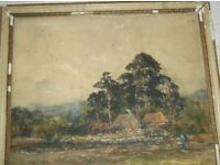 Old original watercolour painting by George Edward Alexander 1865 - 1931