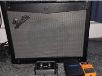 Fender amp with pedal and Boss distortion pedal