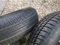 2 tyres, 1 as new dunlop + 1 brand new michelin 175/80/14 tyres on 5 stud 5 x 100 v w steel wheels