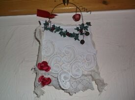 HANDCRAFTED OOAK ALTERED ART NEW MIXED MEDIA VINTAGE LACE STITCHED FABRIC CHRISTMAS HANGING
