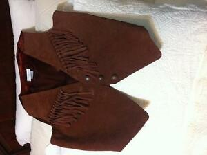 Western leather fringed vest